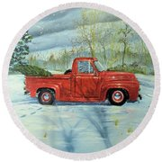 Picking Up The Christmas Tree Round Beach Towel