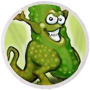 Pickle Monster Round Beach Towel