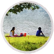 Picnic And Fishing Round Beach Towel