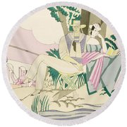 Picnic And Fishing Scene Round Beach Towel