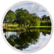 Picnic Area In The Marnel River IIi Round Beach Towel