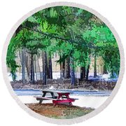 Picnic Area With Wooden Tables 3 Round Beach Towel