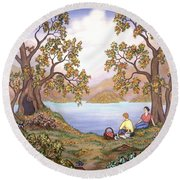 Picnic By A Lake Round Beach Towel