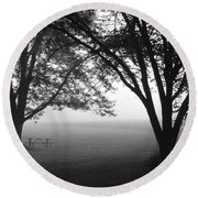 Picnic In The Fog Round Beach Towel