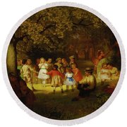 Picnic Party In The Woods Round Beach Towel