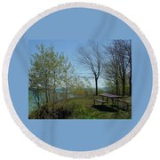 Picnic Table By The Lake Photo Round Beach Towel