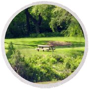 Picnic Table Round Beach Towel