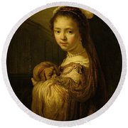 Picture Of A Young Girl Round Beach Towel