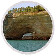 Pictured Rocks Arch Round Beach Towel