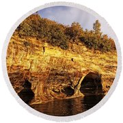 Pictured Rocks Caves Round Beach Towel