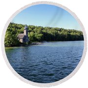 Pictured Rocks Lighthouse Round Beach Towel