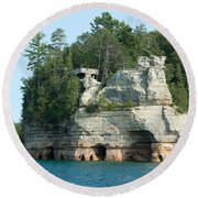 Pictured Rocks Round Beach Towel