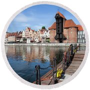 Picturesque City Of Gdansk In Poland Round Beach Towel
