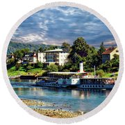 Picturesque River Cruise Round Beach Towel
