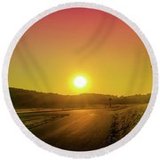 Picturesque Sunset Round Beach Towel