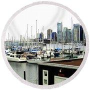 Picturesque Vancouver Harbor Round Beach Towel