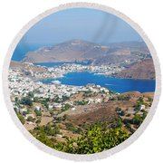 Picturesque View Of Skala Greece On Patmos Island Round Beach Towel