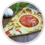 Piece Of Margarita Pizza With Fresh Ingredients Round Beach Towel