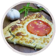 Piece Of Margarita Pizza With Ingredients Round Beach Towel