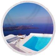 Piece Of Mediterranean Paradise Round Beach Towel