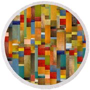 Pieces Parts Round Beach Towel by Michelle Calkins