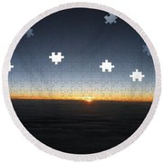 Piecing  Together A New Day Round Beach Towel