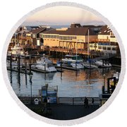 Pier 39 In The Sunshine Round Beach Towel