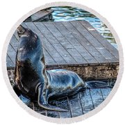 Pier 39 Round Beach Towel