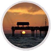Pier 60 Clearwater Beach - Watching The Sunset Round Beach Towel