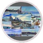 Pier 66 Collage Round Beach Towel