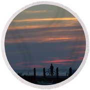 Pier A Long Way Out 4 Round Beach Towel