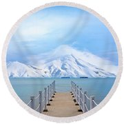 Pier And Mountain Round Beach Towel