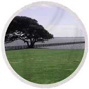 Pier And Tree By The River Round Beach Towel