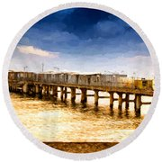 Pier At Sunset Oil Painting Photograph Round Beach Towel