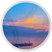 Pier Before Sunrise Round Beach Towel