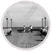 Pier End View At Skegness Round Beach Towel