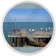 Pier Fishing At Llandudno Round Beach Towel