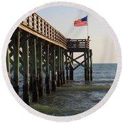 Pier, Flag, Fishing Round Beach Towel