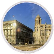 Pier Head Liverpool Panorama 2 Round Beach Towel
