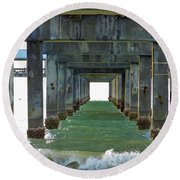 Pier Into The Sunset Round Beach Towel