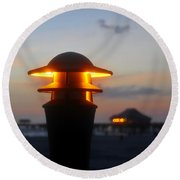 Pier Lights Round Beach Towel