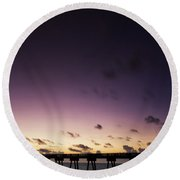 Pier Moon And Venus Round Beach Towel