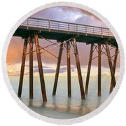 Pier On Beach During Sunrise, Playas De Round Beach Towel
