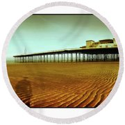 Pier Open Every Day Round Beach Towel