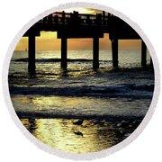 Pier Reflections Round Beach Towel