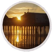 Pier Sunrise Round Beach Towel