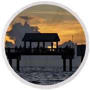 Pier Sunset Round Beach Towel