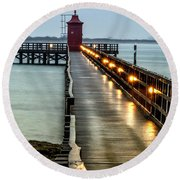 Pier With Lighthouse Round Beach Towel