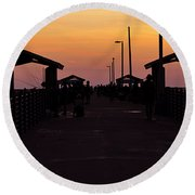 Pier Work Number Six Round Beach Towel
