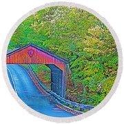 Pierce Stocking Covered Bridge In Sleeping Bear Dunes National Lakeshore-michigan Round Beach Towel